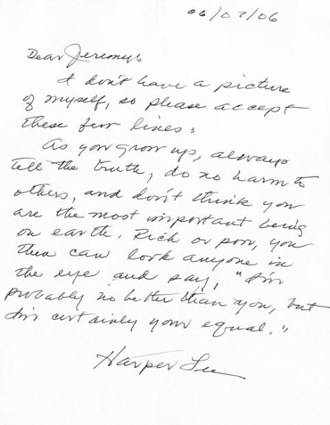 Harper Lee Note