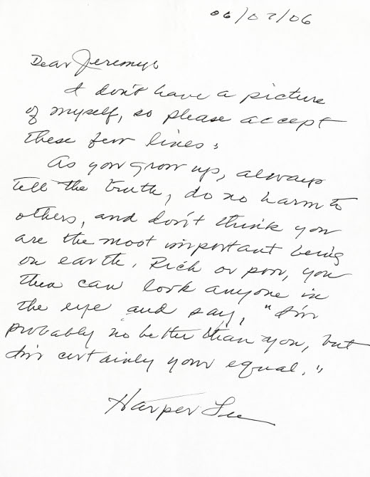 Harper Lee Note